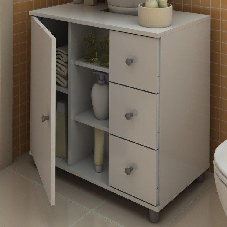 Gabinete para Banheiro com Gavetas Politorno Branco em Gabinetes na MadeiraMa -> Gabinete De Banheiro Politorno