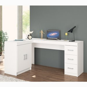 Mesa para Computador Kit Espanha 2 Portas 3 Gavetas Politorno Branco 0 Politorno