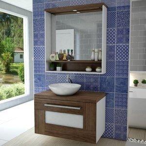 Gabinete para Banheiro com Espelheira Verona Celta Móveis (Não Acompanha Cuba e torneira) Nogal Sevilha/Branco 0 Celta Móveis