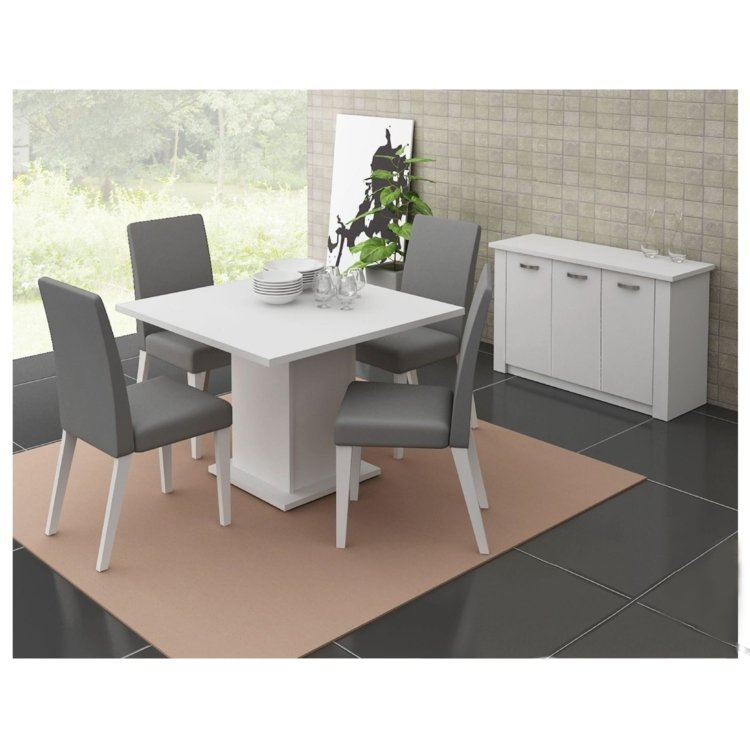 Conjunto Sala De Jantar Com Banco ~ Conjunto Sala de Jantar Mesa e 4 Cadeiras Olga Madesa BrancoGrafite