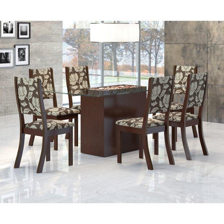 Sala De Jantar Viero Tabaco ~ Conjunto Sala de Jantar Mesa Lina 6 Cadeiras Kiara Viero ChocoCoffe