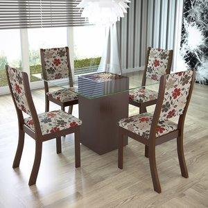 Conjunto para Sala de Jantar Mesa e 4 Cadeiras Viero Via (com tampo) Choco/Passion 0 Viero