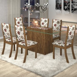 Conjunto Sala de Jantar Mesa Lina 6 Cadeiras Kiara Viero Avelã/Passion 0 Viero