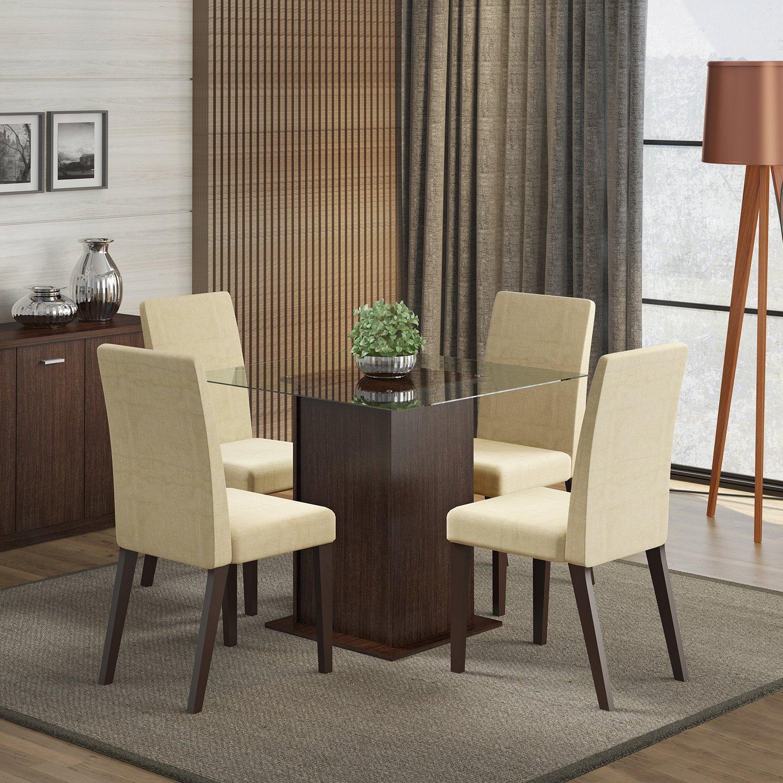 Sala De Jantar Cor Tabaco ~ Conjunto Sala De Jantar Mesa E 4 Cadeiras Tais Madesa Tabaco  R$ 863