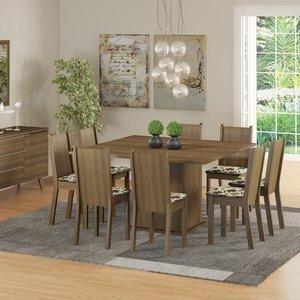 Conjunto Sala de Jantar Mesa e 8 Cadeiras Madesa Clarice Rustic/ Floral Hibiscos 0 Madesa