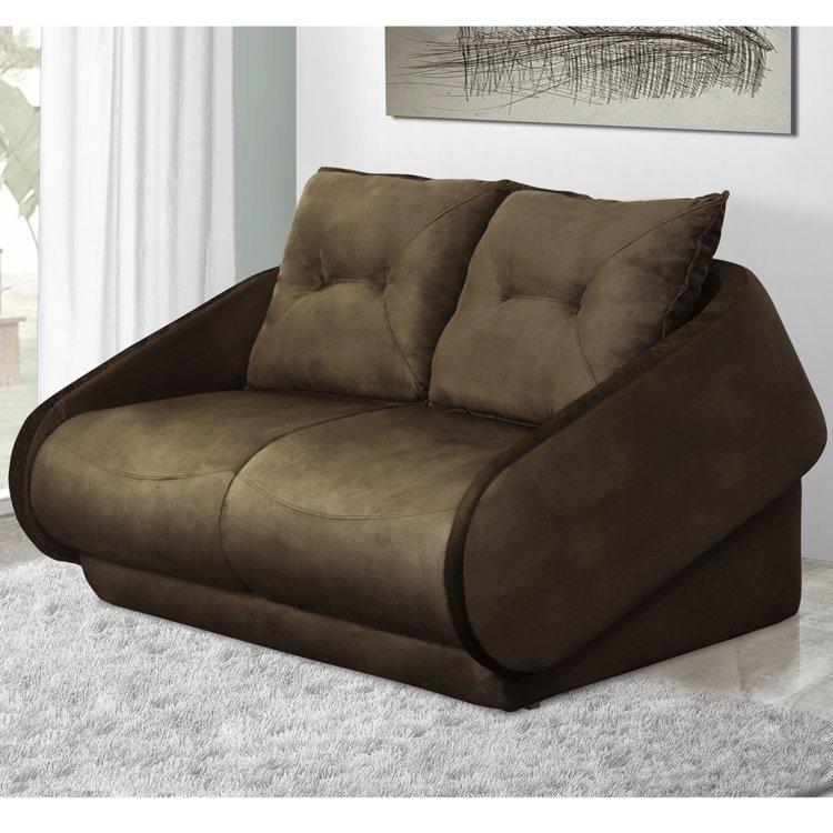 Sof cama 2 lugares mustane gralha azul marrom em sof for Sofa cama 2 metros
