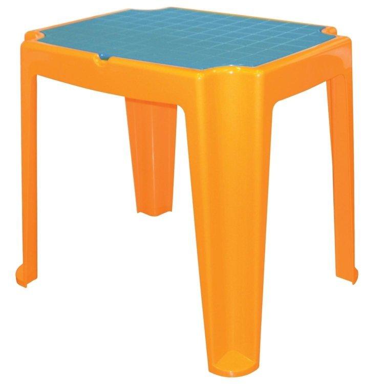 mesa para jardim tramontina:Mesa Tramontina Versa Laranja/Azul