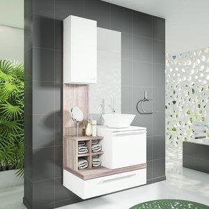 Gabinete para Banheiro com Espelheira Ravenna Celta Móveis (Não acompanha cuba e torneira) Branco/Nogal Griss 0 Celta Móveis